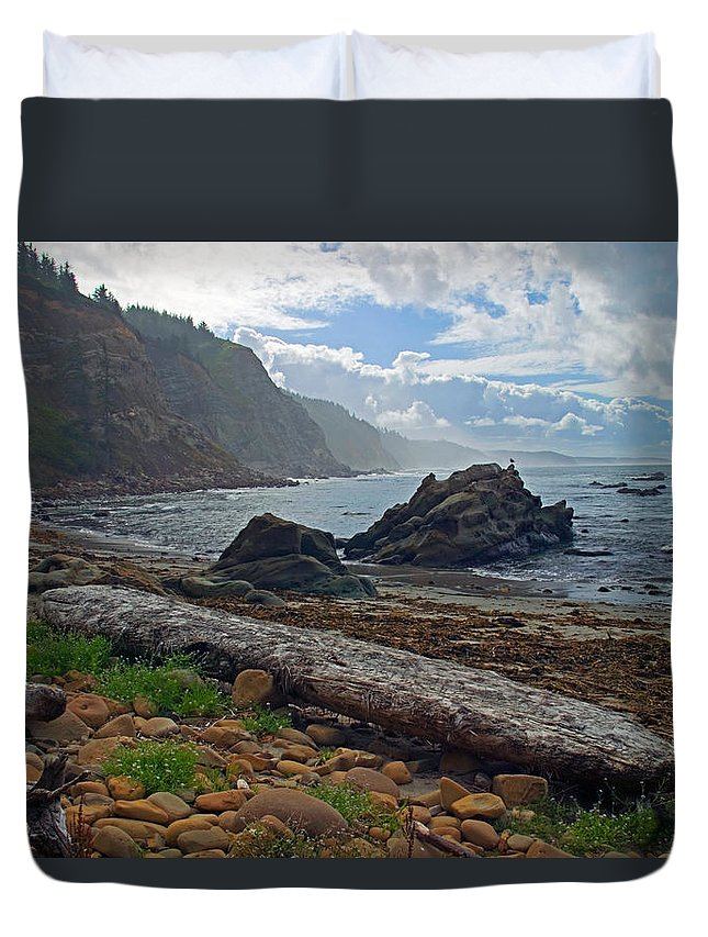 Cape Arago Duvet Cover featuring the photograph Cape Arago Oregon by Randall Ingalls