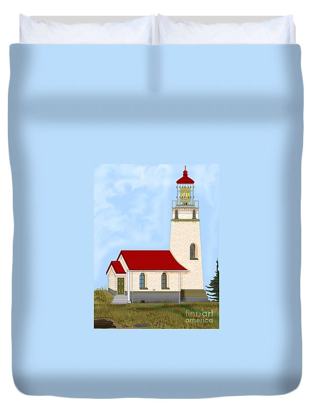 Lighthouse Duvet Cover featuring the painting Cape Blanco Oregon by Anne Norskog