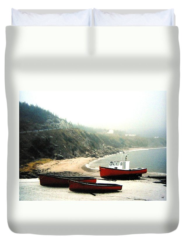 Fishing Boats Duvet Cover featuring the photograph Cape Breton Fishing Boats by Will Borden