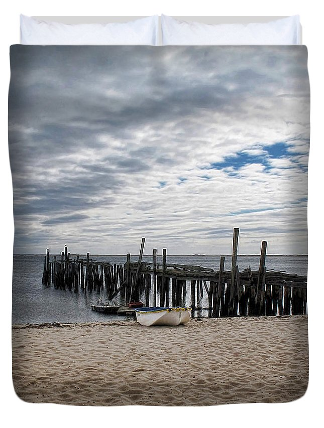 Cape Cod Duvet Cover featuring the digital art Cape Cod Bay by Joan Minchak