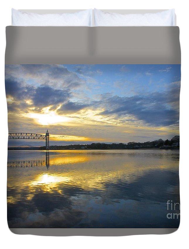 Train Bridge Duvet Cover featuring the photograph Cape Cod Canal Sunrise by Amazing Jules