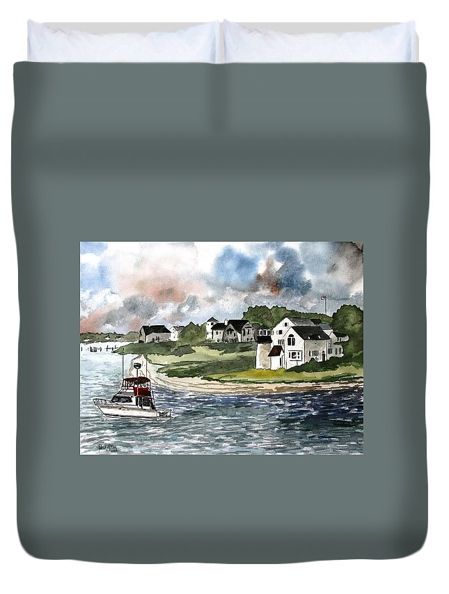 Lighthouse Duvet Cover featuring the painting Cape Cod Lighthouse by Derek Mccrea