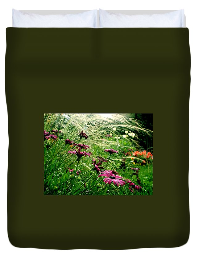 Flora Duvet Cover featuring the photograph Cape Daisies And Angel Hair by Susan Baker