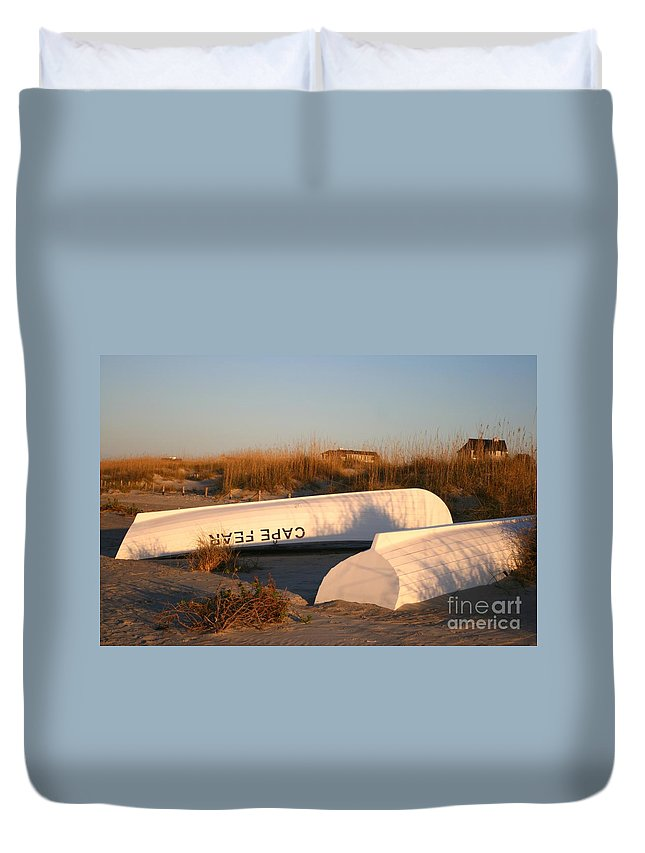 Boats Duvet Cover featuring the photograph Cape Fear Boats by Nadine Rippelmeyer