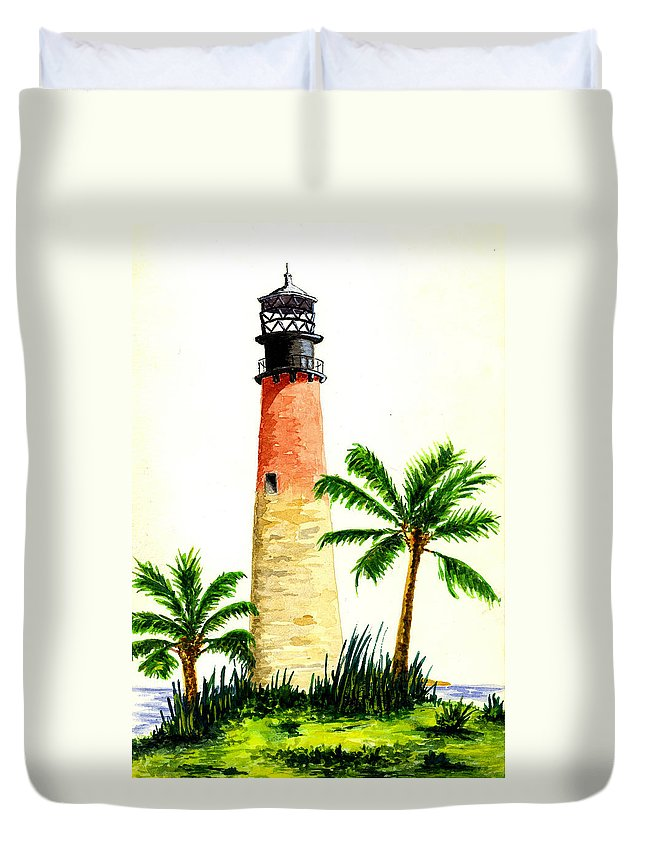 Lighthouse Duvet Cover featuring the painting Cape Florida Lighthouse by Michael Vigliotti