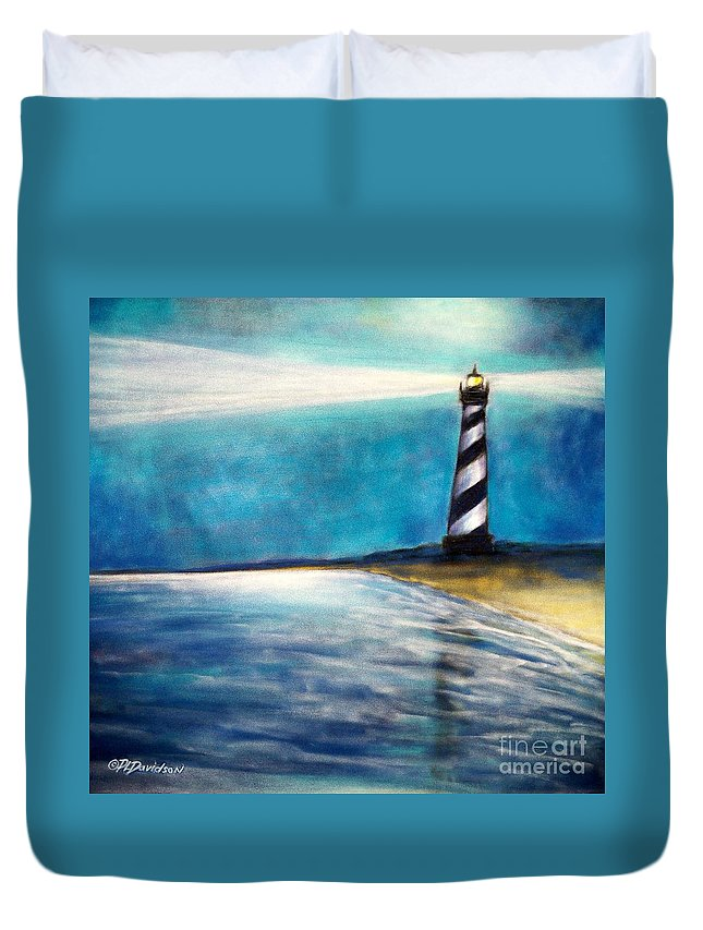 Cape Hatteras Duvet Cover featuring the pastel Cape Hatteras Lighthouse Night Glow by Patricia L Davidson