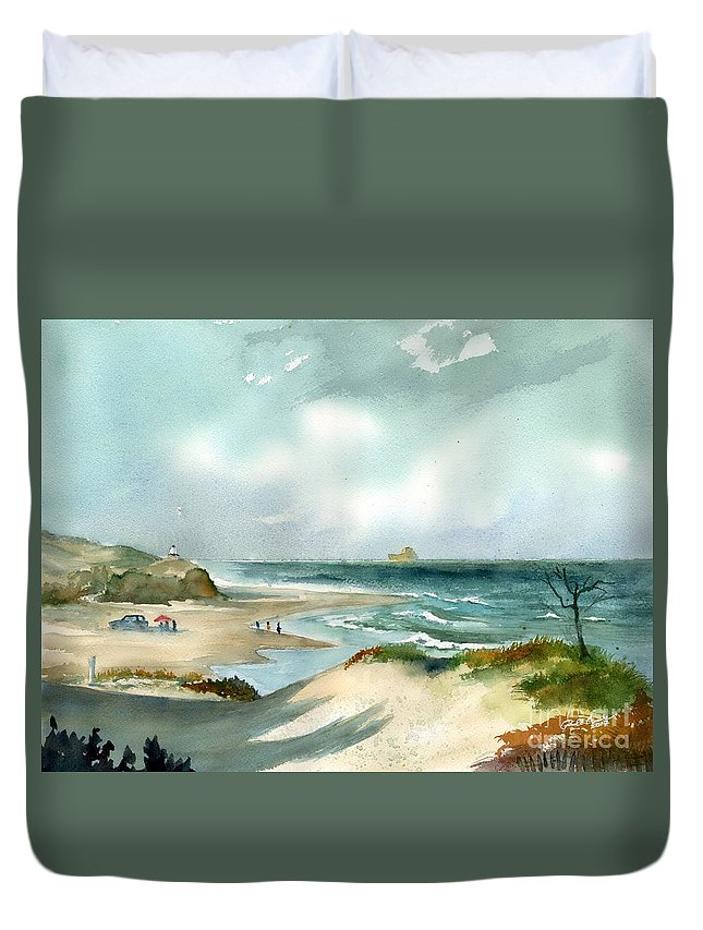 Delaware Seashore Duvet Cover featuring the painting Cape Henlopen State Park by Paul Temple