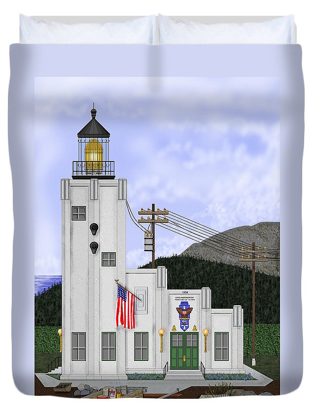 Cape Hinchinbrook Alaska Duvet Cover featuring the painting Cape Hinchinbrook Lighthouse In Alaska by Anne Norskog
