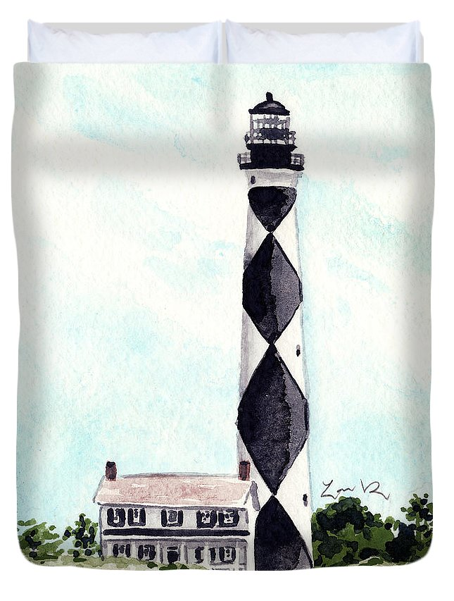 Cape Lookout Lighthouse Duvet Cover featuring the painting Cape Lookout Lighthouse Outer Banks North Carolina by Laura Row