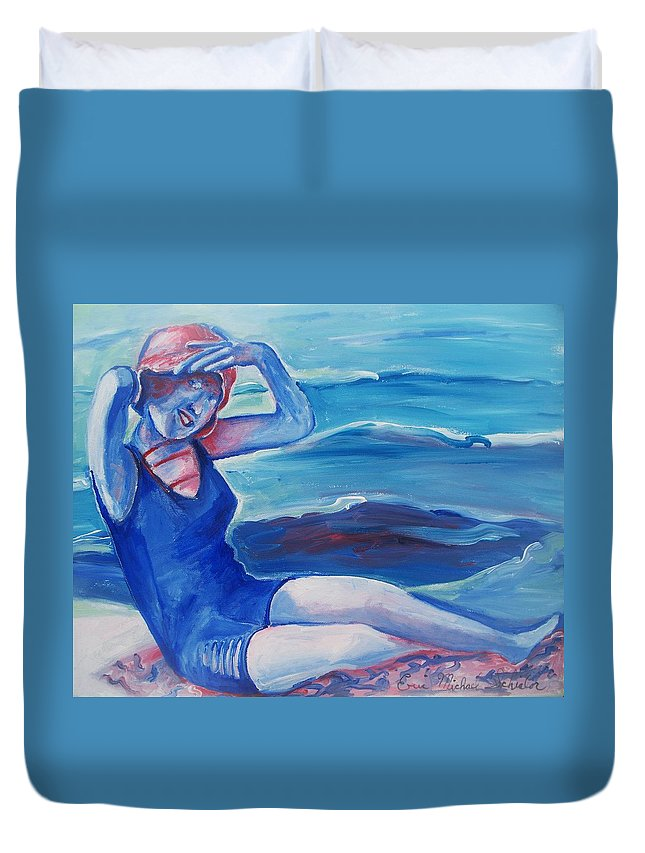 Beach Duvet Cover featuring the painting Cape May 1920s Girl by Eric Schiabor