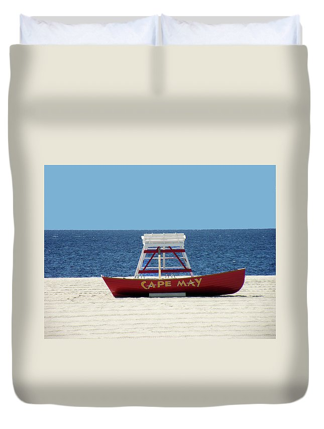 Scenic Duvet Cover featuring the photograph Cape May Lifeguard Station Boat by William Bitman