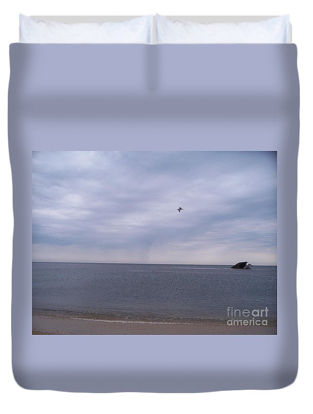 Cape May Duvet Cover featuring the painting Cape May On A Cloudy Day by Eric Schiabor