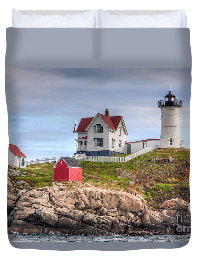 America Duvet Cover featuring the photograph Cape Neddick Nubble Lighthouse I by Clarence Holmes