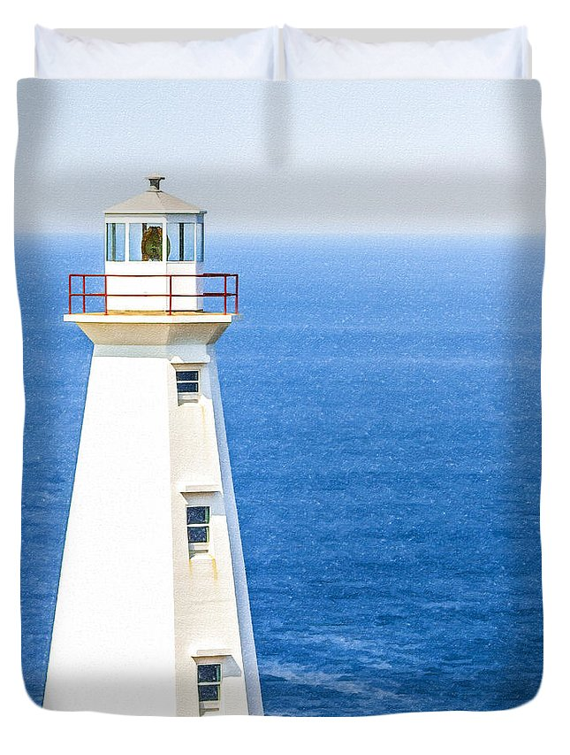 Cape Spear Lighthouse Duvet Cover featuring the digital art Cape Spear Lighthouse by Liz Leyden