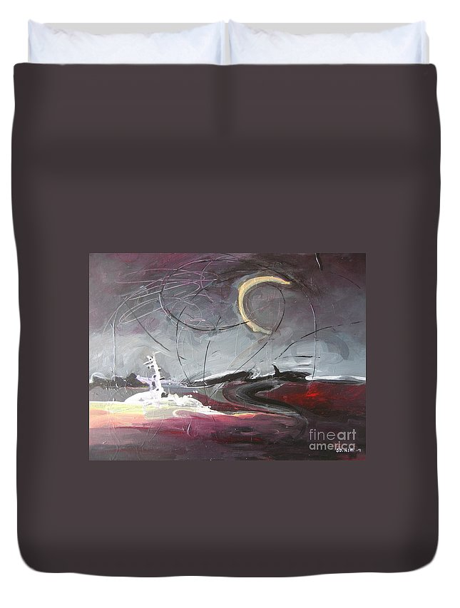 Abstract Paintings Duvet Cover featuring the painting Cape St. Mary by Seon-Jeong Kim