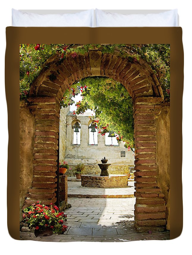 Architecture Duvet Cover featuring the photograph Capistrano Gate by Sharon Foster