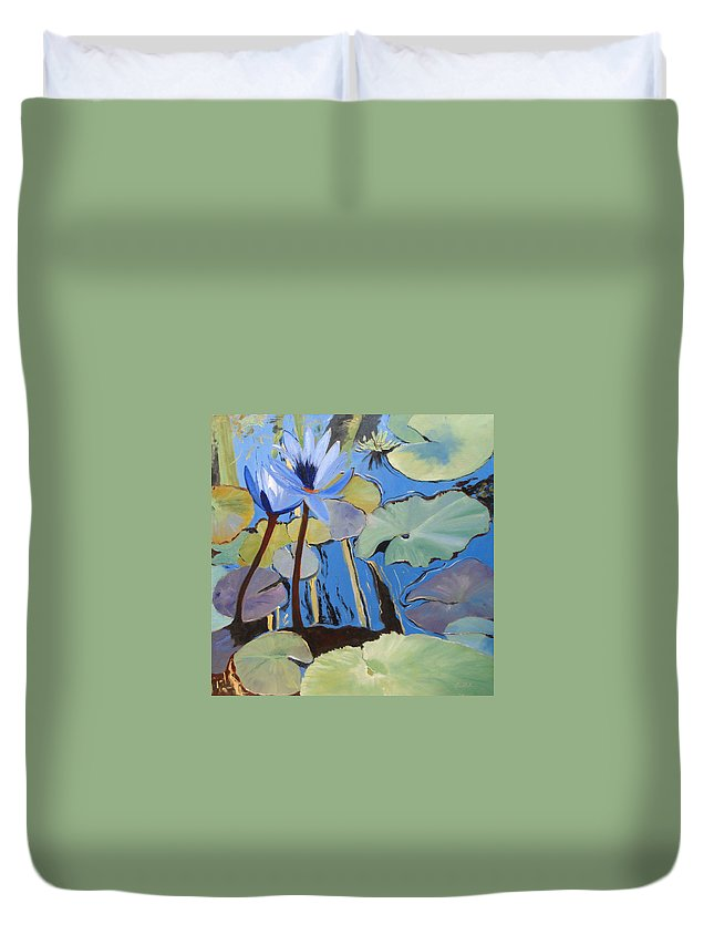 Lillies Duvet Cover featuring the painting Capistrano Lillies by Barbara Andolsek