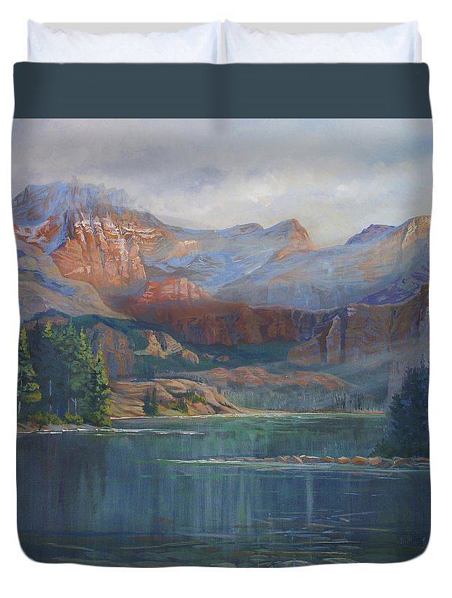 Capital Peak Duvet Cover featuring the painting Capitol Peak Rocky Mountains by Heather Coen