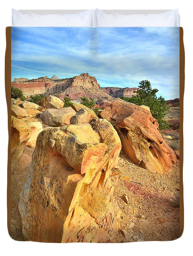 Capitol Reef National Park Duvet Cover featuring the photograph Capitol Reef Boulder Art by Ray Mathis
