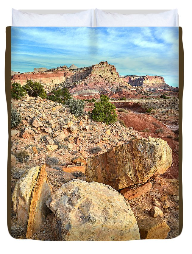 Capitol Reef National Park Duvet Cover featuring the photograph Capitol Reef Boulders by Ray Mathis