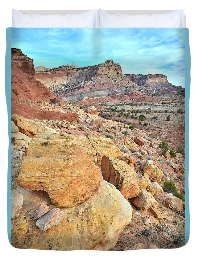 Capitol Reef National Park Duvet Cover featuring the photograph Capitol Reef Rock Art by Ray Mathis