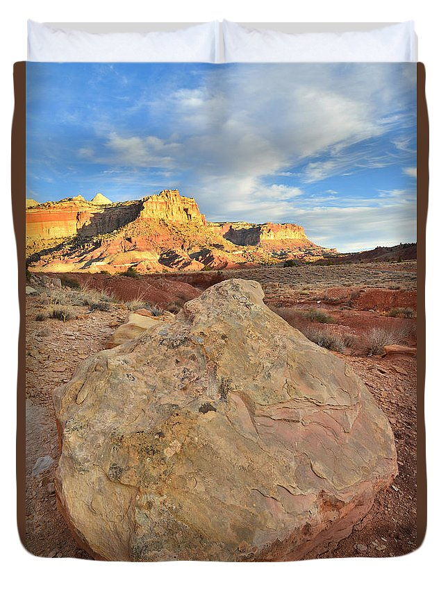Capitol Reef National Park Duvet Cover featuring the photograph Capitol Reef Sunset Boulder by Ray Mathis