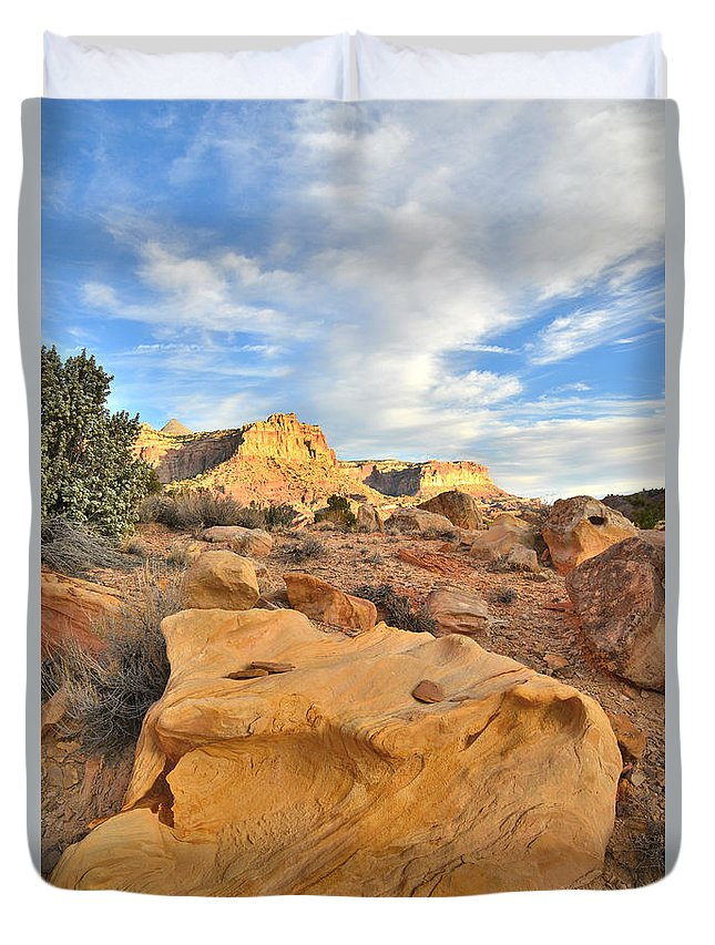 Capitol Reef National Park Duvet Cover featuring the photograph Capitol Reef Sunset Clouds by Ray Mathis