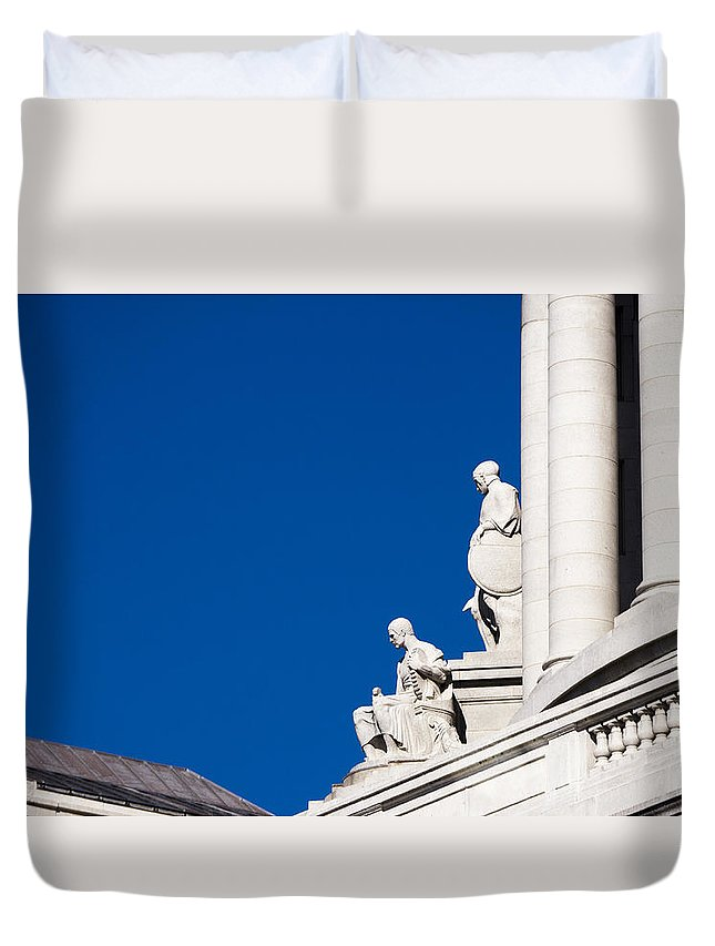 Statues Duvet Cover featuring the photograph Capitol Statues - Madison Wisconsin-1 by Steven Ralser