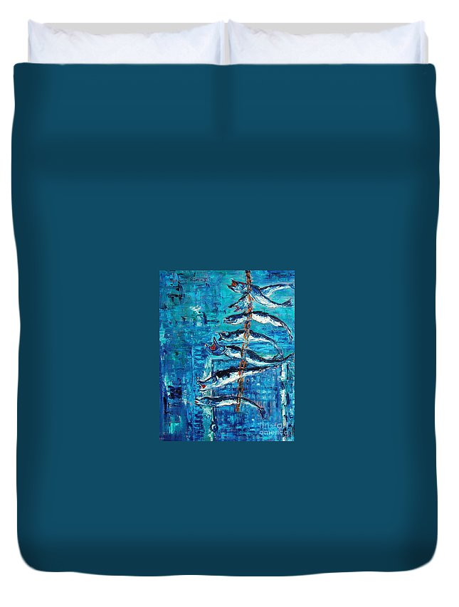 Fish Painting Duvet Cover featuring the painting Caplin by Seon-Jeong Kim