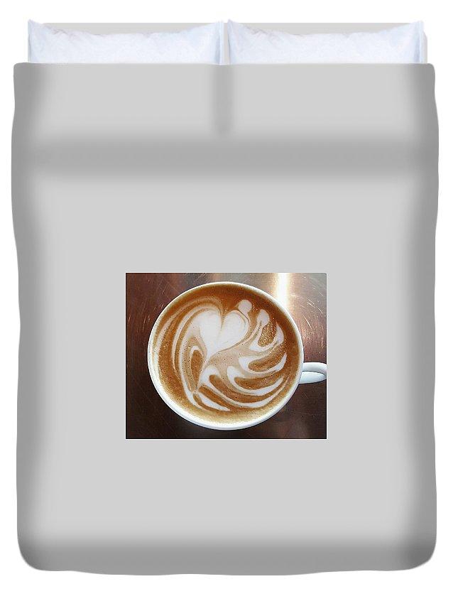 Caffe Cappuccino Dark Cafe Duvet Cover featuring the photograph Cappuccino 2 by Alena Zelenkova
