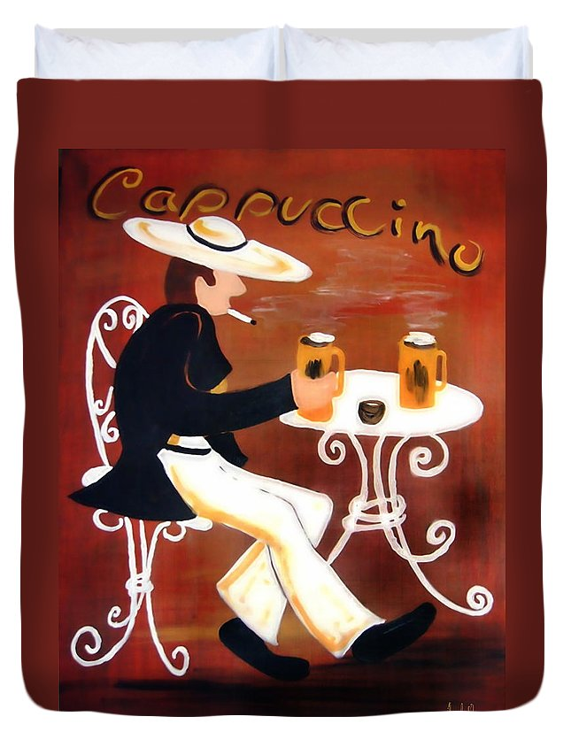 Cappuccino Duvet Cover featuring the painting Cappuccino by Helmut Rottler