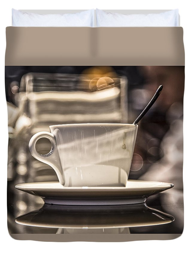 Cappuccino Duvet Cover featuring the photograph Cappuccino In Milan by Denise Nehila
