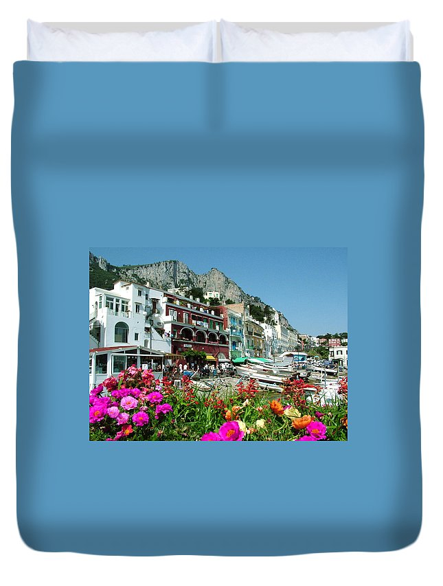 Capri Duvet Cover featuring the photograph Capri by Donna Corless