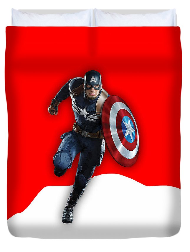 Avengers Duvet Cover featuring the mixed media Captain Collection by Marvin Blaine
