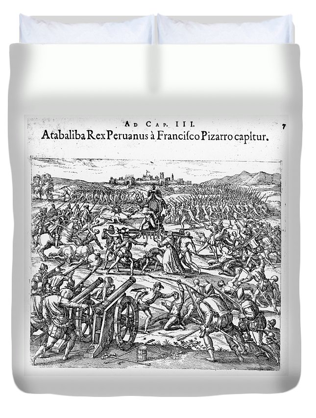 1532 Duvet Cover featuring the photograph Capture Of Atahualpa, 1532 by Granger