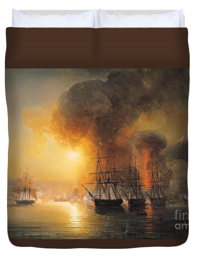 Capture Duvet Cover featuring the painting Capture Of The Fort Of Saint Jean Dulloa On 23rd November 1838 by Jean Antoine Theodore Gudin