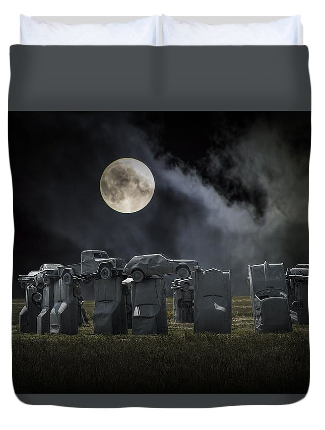 Henge Duvet Cover featuring the photograph Car Henge Under The Moonlight by Randall Nyhof
