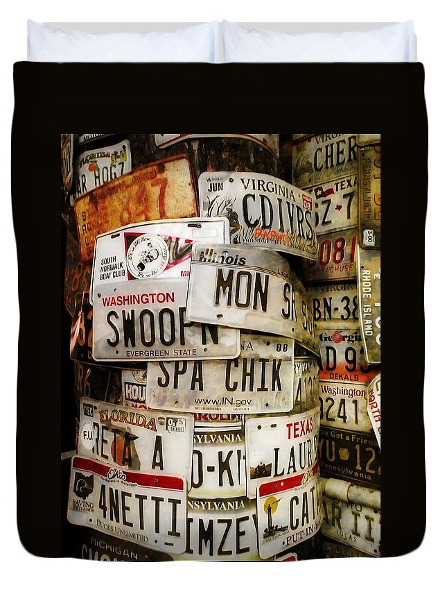 License Duvet Cover featuring the photograph Car Tags by JAMART Photography