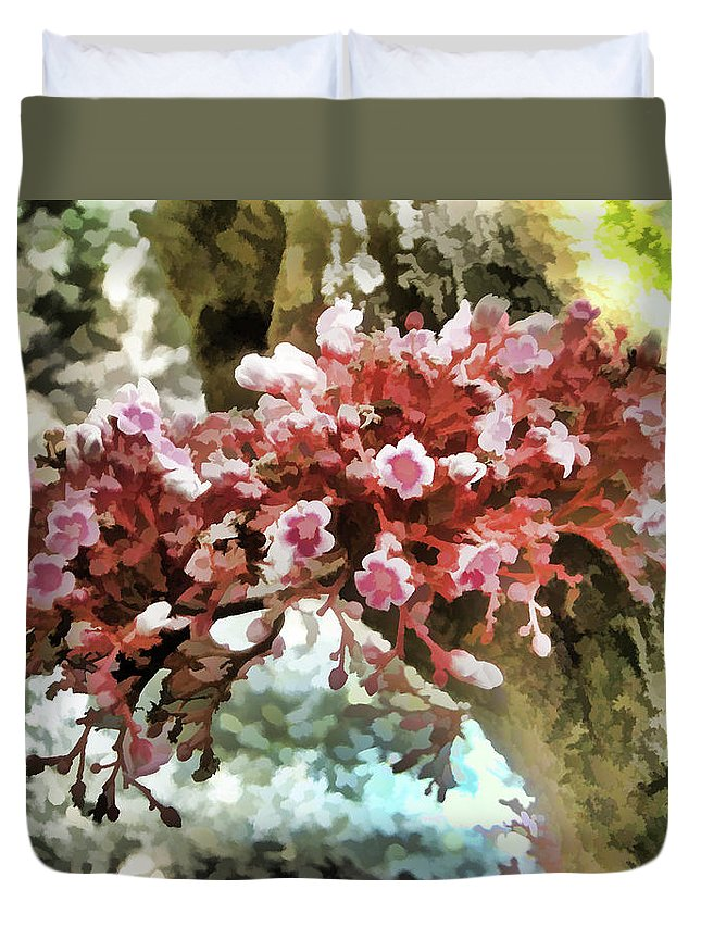 Carambola Flower Duvet Cover featuring the painting Carambola Flower by Jeelan Clark