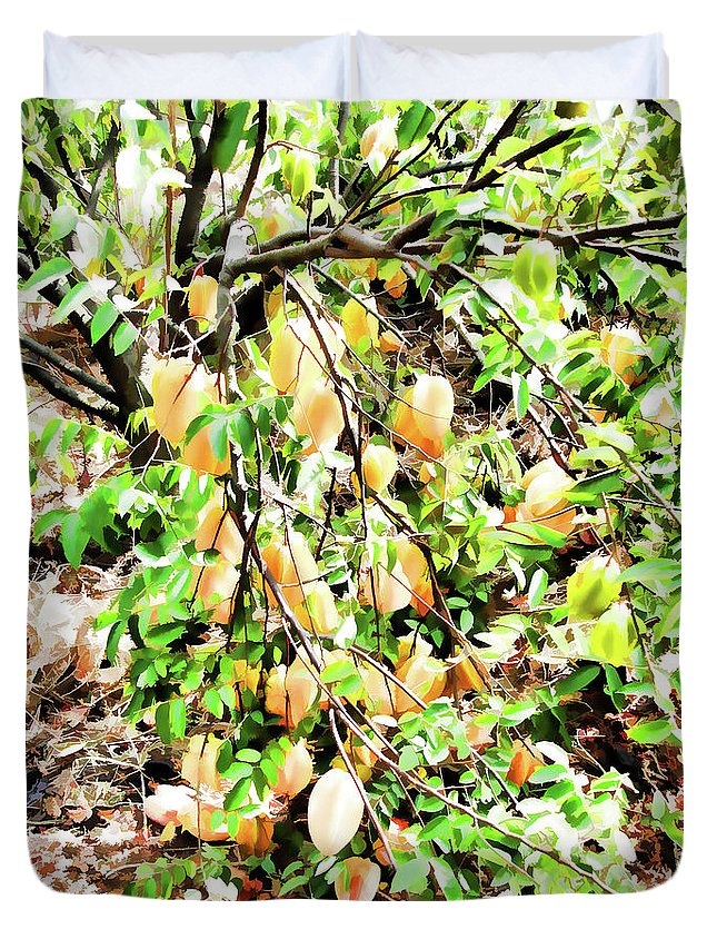 Star Apple Fruit On The Tree Duvet Cover featuring the painting Carambola by Jeelan Clark