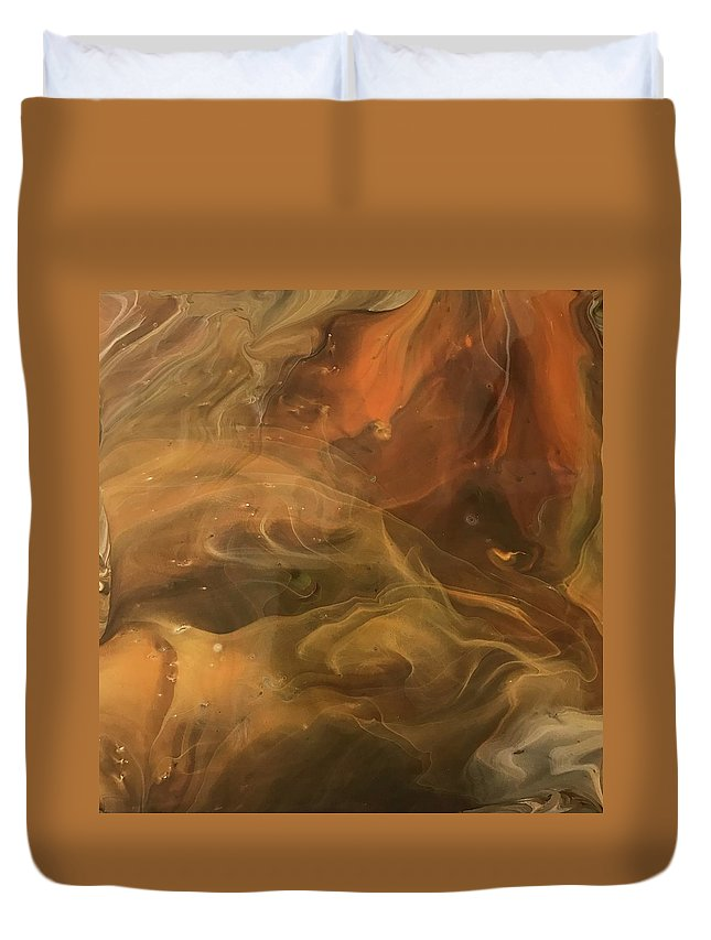 Acrylic Duvet Cover featuring the painting Caramel Cream by A Billings