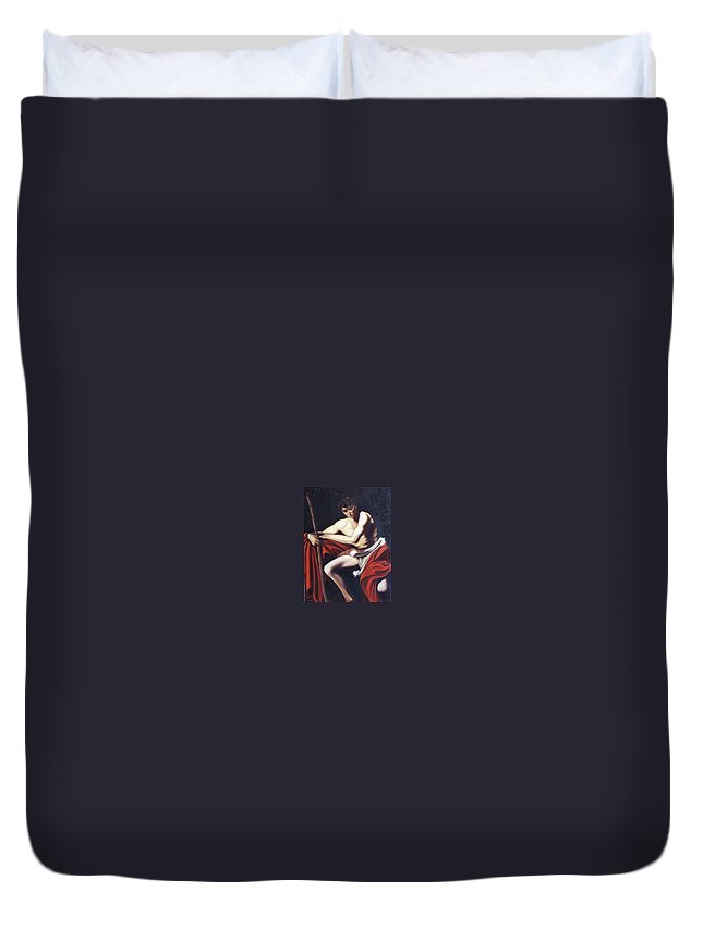 Caravaggio Duvet Cover featuring the painting Caravaggio's John The Baptist Study by Toni Berry