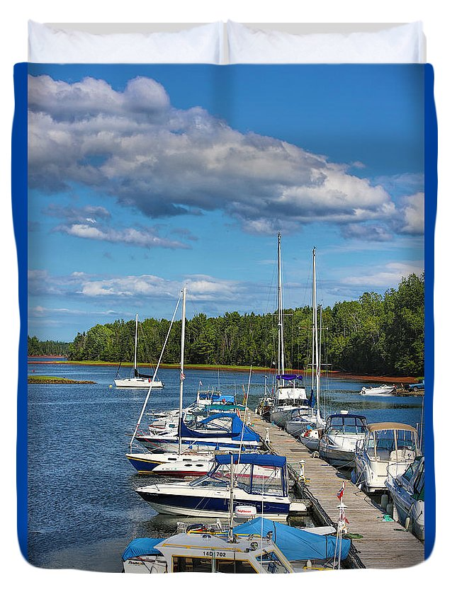 Pei Duvet Cover featuring the photograph Cardigan Wharf by Dan MacKinnon