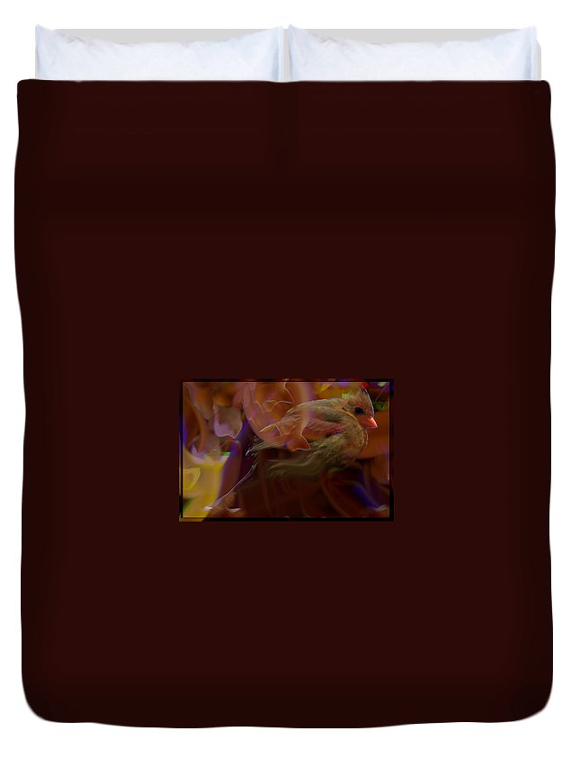 Jenny Gandert Duvet Cover featuring the digital art Cardinal And Abstract by Jenny Gandert