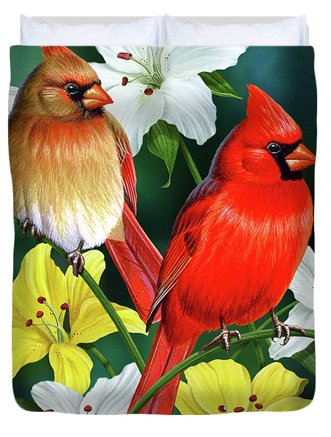Cardinal Duvet Cover featuring the painting Cardinal Day 2 by JQ Licensing