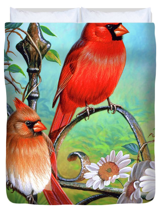 Cardinal Duvet Cover featuring the painting Cardinal Day 3 by JQ Licensing