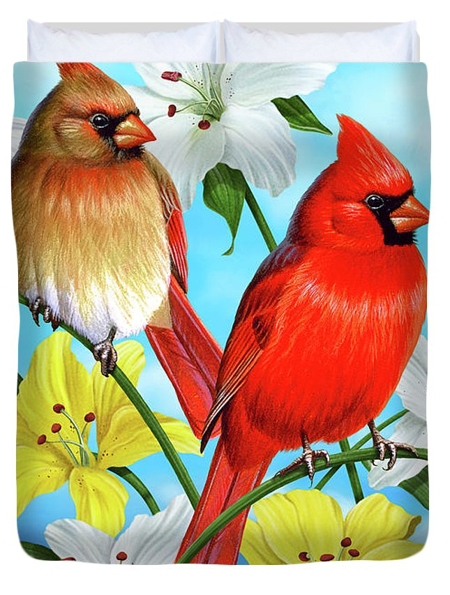 Cardinal Duvet Cover featuring the painting Cardinal Day by JQ Licensing