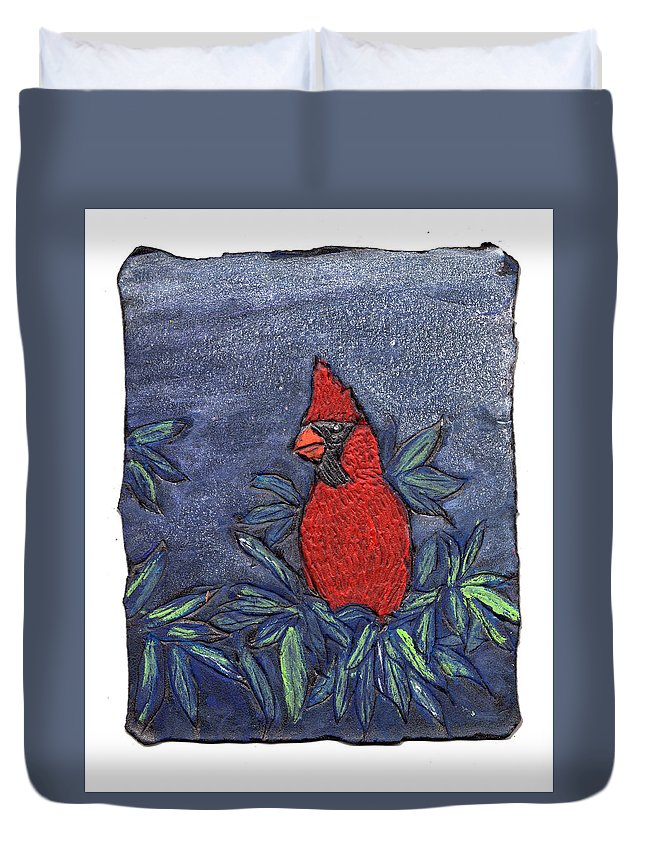 Bird Duvet Cover featuring the painting Cardinal In Winter by Wayne Potrafka