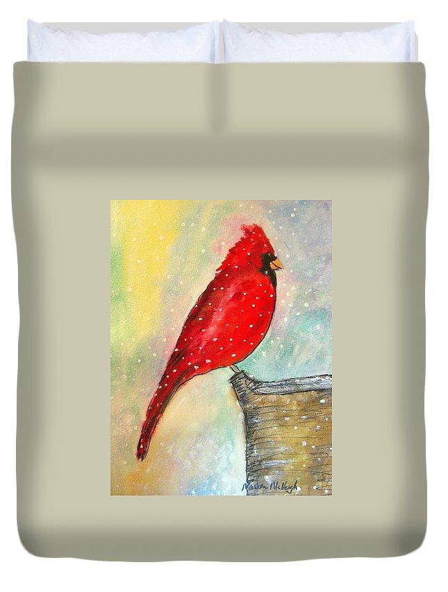 Cardinal Duvet Cover featuring the painting Cardinal by Marita McVeigh