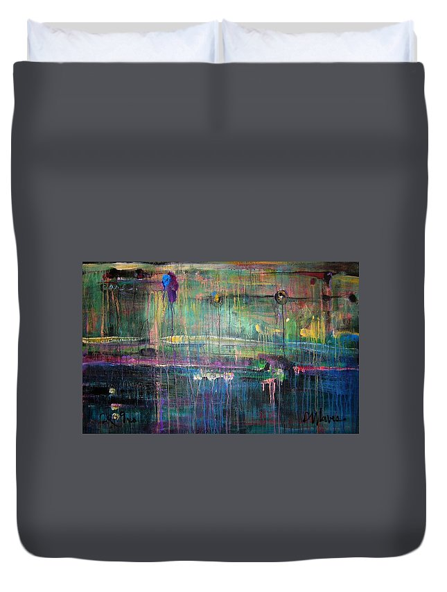 Abstract Duvet Cover featuring the painting Care by Laurie Maves ART